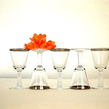 Vintage Mid Century Silver rim band Cordial Liqueur Aperitif shot glasses FIVE Hipster Mad Men Style bar ware barware cocktail stem stemware