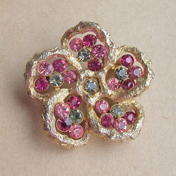 Signed CORO Early 1950's Vintage Pink Rhinestone PANSY Flower Pin - Excellent!