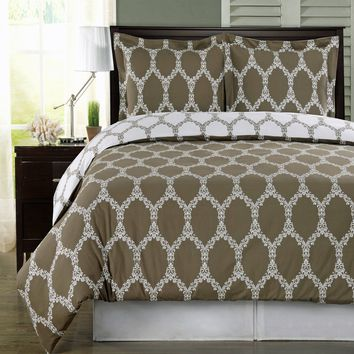 Brooksfield Taupe 100% Combed cotton Duvet Cover Set