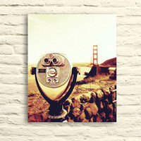 San Francisco Photo. Golden Gate Bridge. Viewfinder. Travel photography. canvas wall art. gold orange red brown. California. home decor