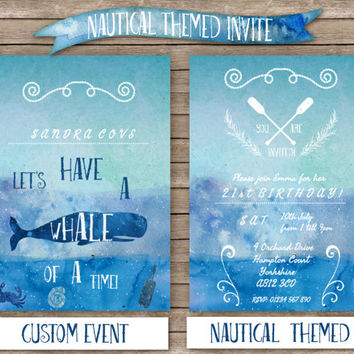 DIY Custom Nautical Themed Party Digital Invitation // Artistic and Creative Seaside Invite