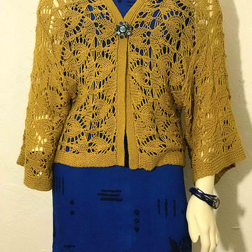 Vtg Mustard Yellow Bohemian Crochet Open Cardigan / Large Knit Sweater / Wide Bell Sleeves / Loose Fit / 70s Hippie Fashion / Boho Gypsy