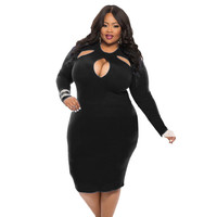Plus Size Cutout Bodycon Midi Dress