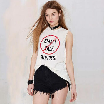 Small Talk Letters Printed Tank Top  12300