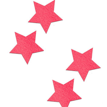 PETITES: TWO-PAIR OF SMALL NEON PINK STAR PASTIES