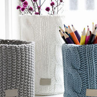 Large Off-White Knitted Vase - Bath Accessories - For the Bath - Bedding & Bath - PoshLiving