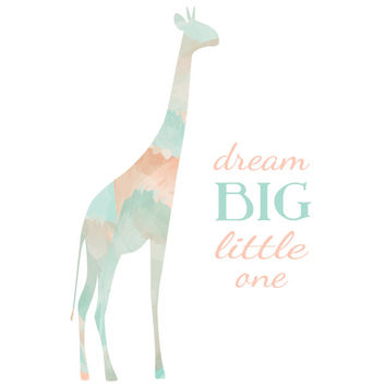 Dream Big Little One / Giraffe Silhouette / Pink Coral Mint Blue Watercolor / Newborn Baby Girl / Baby Shower Gift / Modern Nursery Decor