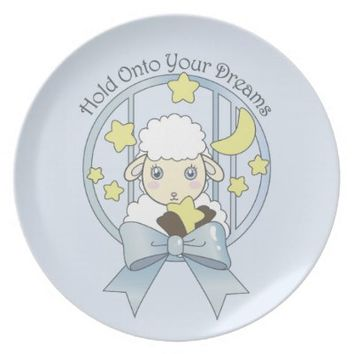 Cute Animal Kids Dinner Plates: Kawaii Everyday Dish Gift for Girl Birthday or Baby Shower: Sweet Little Lamb, Moon, and Stars
