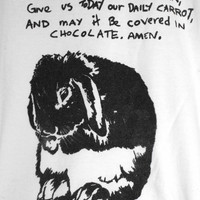 RABBIT Graphic screen printed women's t shirt, hand made.
