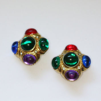 Multi Color Faux Gemstone Earrings Big Bold Clip Dynasty Style Vintage