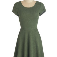 ModCloth Minimal Mid-length Short Sleeves A-line Talk About Texture Dress