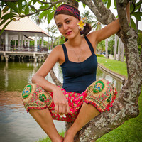 Short Thai Harem Pants, Cotton, Batik, Pink w Green/Gold Elephant Design(S-XL) one size fits all