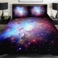 Anlye Home Decor Bedding Set 2 Sides Printing Purple Nebula Quilt Coverlet Purple Nebula Linen Sheets with 2 Decorative Pillow Covers Twin