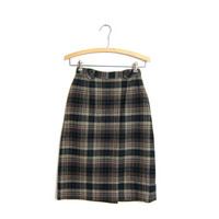 Wool pencil skirt 60s vintage modern plaid skirt high waist 1960s Twiggy prep school girl brown tan green Hunter nature girl skirt XS XXS