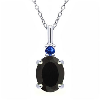 1.71 Ct Oval Black Onyx Blue Sapphire 925 Sterling Silver Pendant