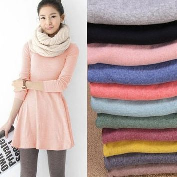 Fashion Clothes Women Dress 2015 Autumn Winter Dress Female 100% Cotton O-neck Long Sleeve Dress Woolen = 5979008001