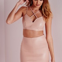 Missguided - Faux Leather Cross Front Sweetheart Bralet Nude
