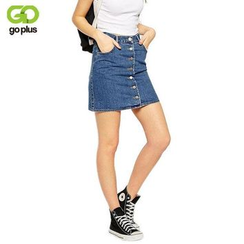 ESBET7 GOPLUS 2017 Summer Style New Fashion Short Jeans Skirt Women Faldas Midi Denim Skirts High Waist Sheds Tutu American Apparel