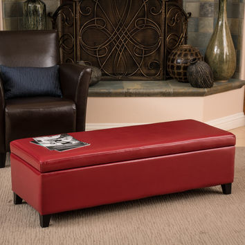 Bree Red Leather Storage Ottoman Bench