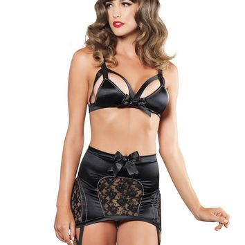 3PC Cage strap bra high waist 6-hook garter skirt g-strin