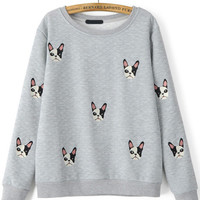 Grey Dog Embroidered Long Sleeve Sweatshirt