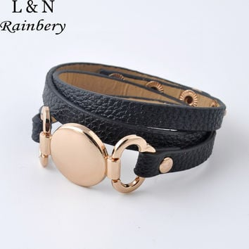 Rainbery Hottest Sale Trendy With Blank Disk Multiple Wrap Leather Bracelet 2016 New Style Monogram Leather Cuff Bracelet
