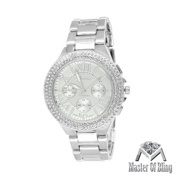 Roman Numeral Dial White Gold Tone Lab Diamond MK Style Ladies Watch