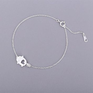 Exquisite Creative Handmade 925 Sterling Silver Jewelry Bracelets Drawing Small Cute Pig Lovely Female Hollow Bracelets  SB71