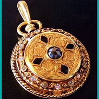 "Pocket Watch Pendant Black & Clear Rhinestones Enamel Gold Metal 2.5"" Vintage"