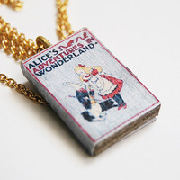 Alice in Wonderland's mini book necklace
