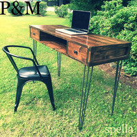 Modern Sleek industrial wood desk on hairpin legs. Custom, barnwood, salvage wood, tv stand. Lots of looks to choose from