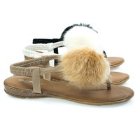 Ronnie08 By Forever, Furry Pom Pom Flat Thong Sandal w Slip On Elastic Strap & Small Wedge