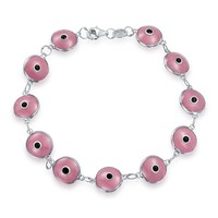 Turkish Multi Colors Evil Eye Glass Bead Bracelet 925 Sterling Silver