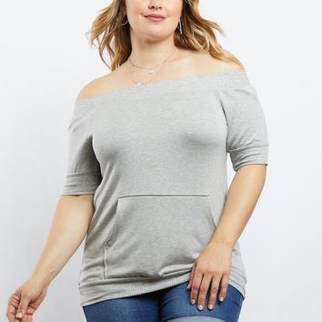 Plus Size Chill Girl Off The Shoulder Sweatshirt
