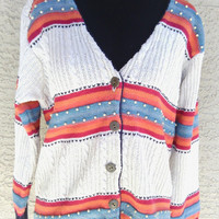 Women's Vintage silk blend cardigan in P /L - Petite Large. Silk, cotton, rami blend. 5 button front. V neck. Russ Sport Petite.