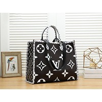 Louis Vuitton LV Fashion New Monogram Print Leather Handbag Shoulder Bag Women Black