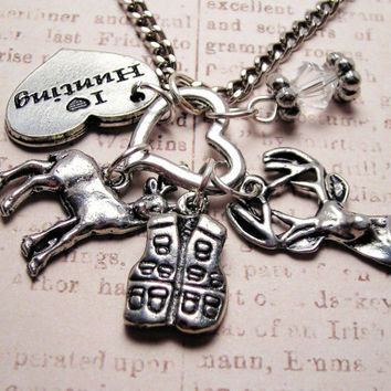 I love hunting charm holder with 5 charms  Pendant  necklace