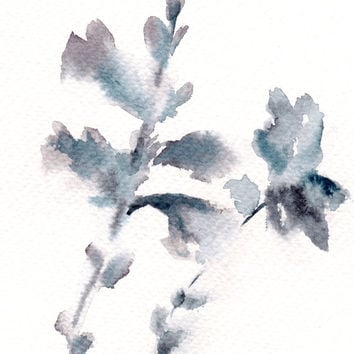 Abstract Floral Original Watercolor Painting, Grey Blue Abstract Modern Watercolor Art
