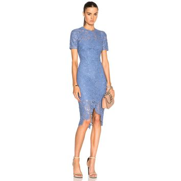 Blue Iris Embroidered Lace High Low Dress