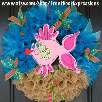 Kissy Fish Wreath by FrontDoorExpressions on Etsy