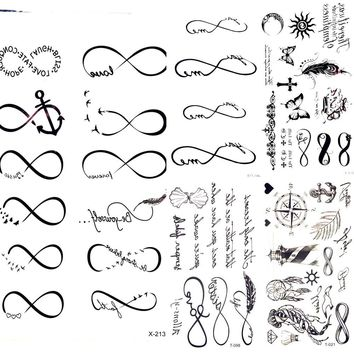 Waterproof Black Infinity Tattoo Feather Bird Women Body Hand Art Drawing Temporary Tattoo Stickers Men Finger Tatto Small Paste