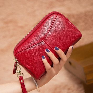 Luxury Brand women Wallets High Capacity Clutch Bag Custom Leather women Clutch Wallet Coin Purse Male Wrist Strap Wallet Bag