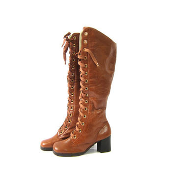1960s tall Go Go boots Chunky heels Zipper Sides and Lace Up Fashion boots boho chic Brown boots Distressed Womens size 6.5 B