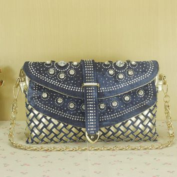 2017 fashion women bag denim casual lady shoulder bags designer handbags high quality weaving jean bags woman purses