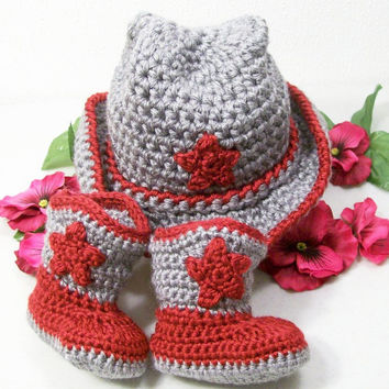 Crochet Baby Boy Cowboy Set--Western Hat and Boots -Gift Set-Red/Gray-Baby Shower Gift--#208