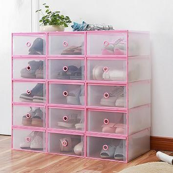 4PCS Shoes Wrapped Plastic Storage Box Drawer Type Transparent Plastic Shoes Box Drawe