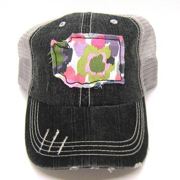 Black and Gray Distressed Trucker Hat - Abstract Floral Applique - Washington - All United States Available