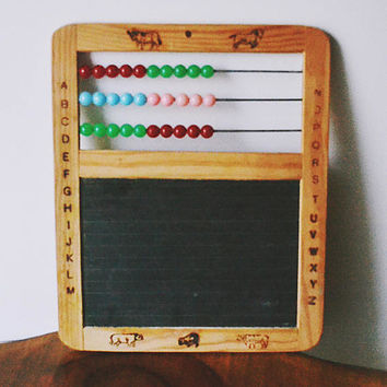 Children's Educational Toys, Vintage Abacus With Slate, Vintage Puzzle Game, Mind Bender