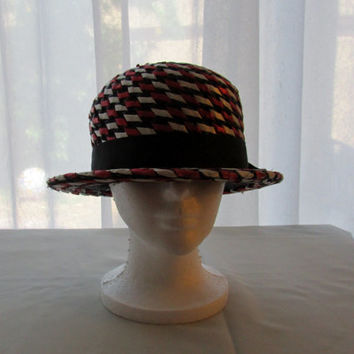 13-0707 Vintage 1960s Red White and Blue Straw Hat / Patriotic Hat / Brimmed Hat / Red White and Blue / Hat
