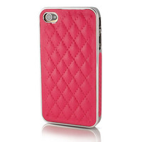 Luxury Electroplating Leather Hard Case Cover for iPhone 4 4S - Rose | 123InkCartridges.ca Canada